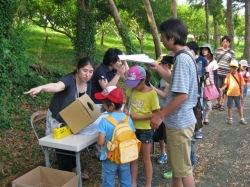カブトムシ自然観察会に集まる子供達